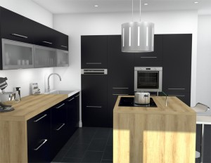 îlot de cuisine design ouverte noir mat